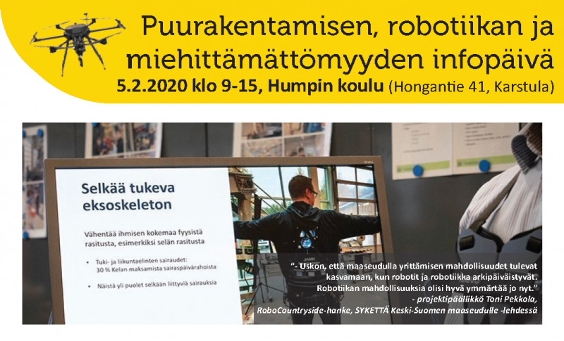 Puurakentamisen, robotiikan & miehittämättömyyden infopäivä