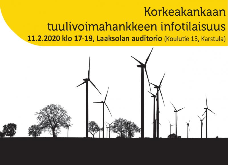 Korkeakankaan tuulivoimahankkeen infotilaisuus ti 11.2. klo 17-19