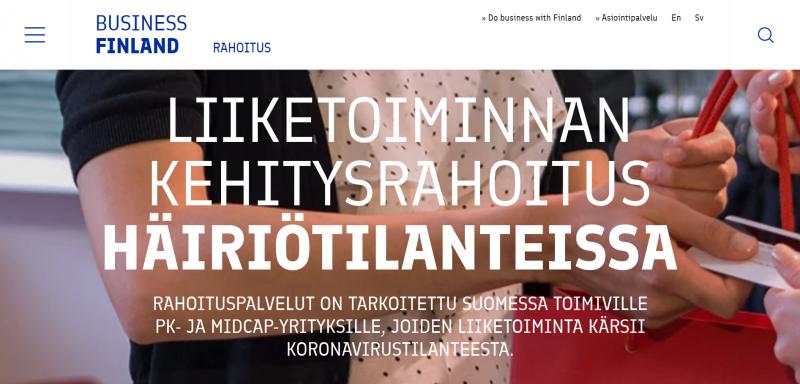 Korona: Business Finland – Liiketoiminnan kehitysrahoitus häiriötilanteissa